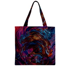 Voodoo Child Jimi Hendrix Zipper Grocery Tote Bag by Onesevenart