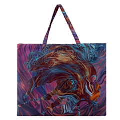 Voodoo Child Jimi Hendrix Zipper Large Tote Bag by Onesevenart