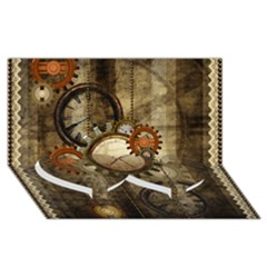 Wonderful Steampunk Design With Clocks And Gears Twin Heart Bottom 3d Greeting Card (8x4) by FantasyWorld7