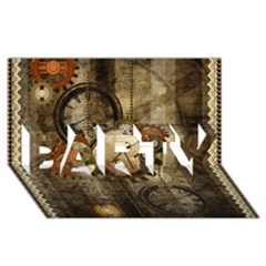 Wonderful Steampunk Design With Clocks And Gears Party 3d Greeting Card (8x4) by FantasyWorld7