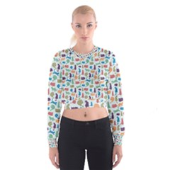 Blue Colorful Cats Silhouettes Pattern Women s Cropped Sweatshirt by Contest580383