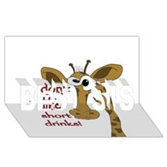 Giraffe Joke Best Sis 3d Greeting Card (8x4) by Valentinaart