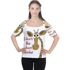 Giraffe Joke Women s Cutout Shoulder Tee by Valentinaart