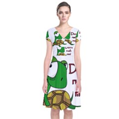 Turtle joke Short Sleeve Front Wrap Dress by Valentinaart