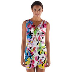 Colorful pother Wrap Front Bodycon Dress by Valentinaart