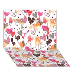 Colorful Cute Hearts Pattern Love 3d Greeting Card (7x5) by TastefulDesigns