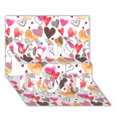 Colorful Cute Hearts Pattern You Rock 3d Greeting Card (7x5) by TastefulDesigns