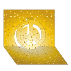 Gold Hearts Pattern Peace Sign 3d Greeting Card (7x5) by theimagezone