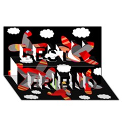 Playful Airplanes  Best Friends 3d Greeting Card (8x4)