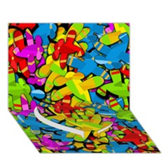Colorful Airplanes Heart Bottom 3d Greeting Card (7x5) by Valentinaart