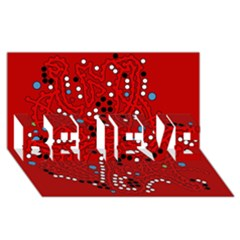 Red Fantasy Believe 3d Greeting Card (8x4)