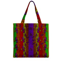 Raining Flowers From The Sky Zipper Grocery Tote Bag by pepitasart