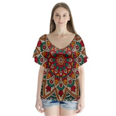 Background Metallizer Pattern Art Flutter Sleeve Top by Zeze