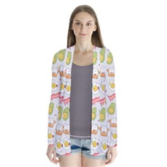 Funny Cat Food Succulent Pattern  Drape Collar Cardigan by Mishacat