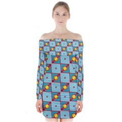 Shapes In Squares Pattern               Long Sleeve Off Shoulder Dress by LalyLauraFLM