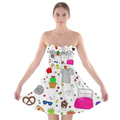 Animals Fruite Cake Lip Pattern Strapless Bra Top Dress by AnjaniArt