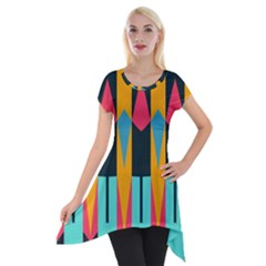 Shapes and stripes                                                                                                             Short Sleeve Side Drop Tunic by LalyLauraFLM
