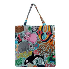 Alphabet Patterns Grocery Tote Bag by AnjaniArt