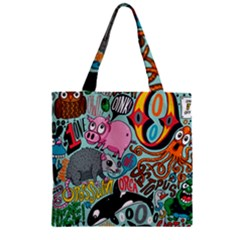 Alphabet Patterns Zipper Grocery Tote Bag by AnjaniArt