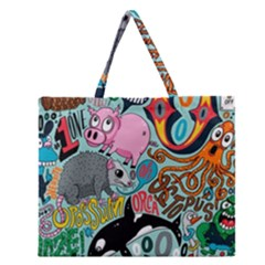 Alphabet Patterns Zipper Large Tote Bag by AnjaniArt