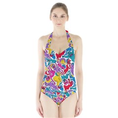 Animation Animated Cartoon Pattern Halter Swimsuit by AnjaniArt