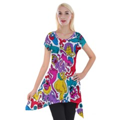Animation Animated Cartoon Pattern Short Sleeve Side Drop Tunic by AnjaniArt