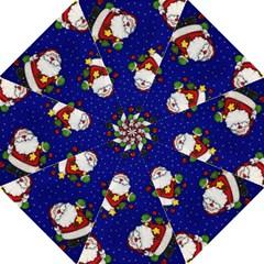 Blue Santas Clause Folding Umbrellas by AnjaniArt