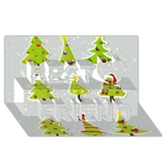 Christmas Elements Stickers Best Friends 3d Greeting Card (8x4)