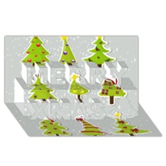Christmas Elements Stickers Merry Xmas 3D Greeting Card (8x4) by AnjaniArt
