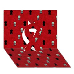 Cute Zombie Pattern Ribbon 3d Greeting Card (7x5) by AnjaniArt