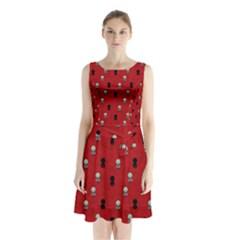 Cute Zombie Pattern Sleeveless Chiffon Waist Tie Dress by AnjaniArt