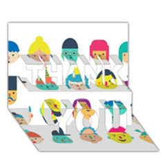 Face People Man Girl Male Female Young Old Kit Thank You 3d Greeting Card (7x5) by AnjaniArt