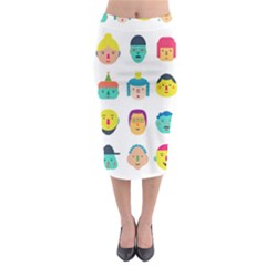 Face People Man Girl Male Female Young Old Kit Midi Pencil Skirt by AnjaniArt