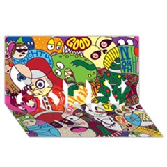 Face Mask Cartoons Stash Holiday Sorry 3d Greeting Card (8x4)