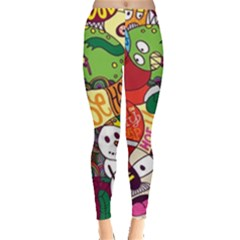 Face Mask Cartoons Stash Holiday Leggings  by AnjaniArt