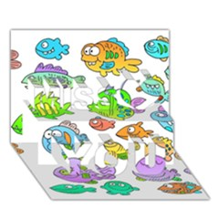 Fishes Col Fishing Fish Miss You 3d Greeting Card (7x5)