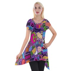 Gpattern Short Sleeve Side Drop Tunic by AnjaniArt