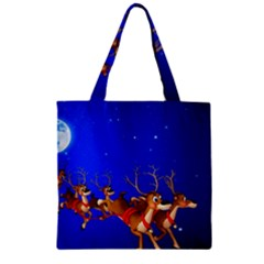 Holidays Christmas Deer Santa Claus Horns Zipper Grocery Tote Bag by AnjaniArt