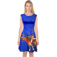 Holidays Christmas Deer Santa Claus Horns Capsleeve Midi Dress by AnjaniArt