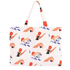 Olympics Swimming Sports Zipper Large Tote Bag by AnjaniArt