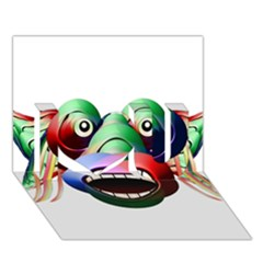 Futuristic Funny Monster Character Face I Love You 3d Greeting Card (7x5) by dflcprints