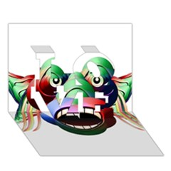 Futuristic Funny Monster Character Face Love 3d Greeting Card (7x5) by dflcprints
