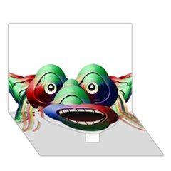 Futuristic Funny Monster Character Face Heart Bottom 3d Greeting Card (7x5) by dflcprints