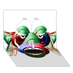 Futuristic Funny Monster Character Face Clover 3d Greeting Card (7x5) by dflcprints