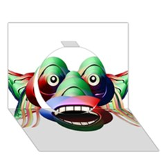 Futuristic Funny Monster Character Face Circle 3d Greeting Card (7x5) by dflcprints