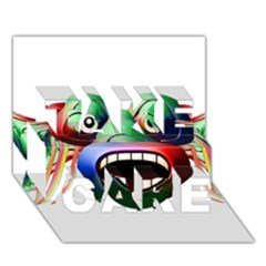 Futuristic Funny Monster Character Face Take Care 3d Greeting Card (7x5) by dflcprints