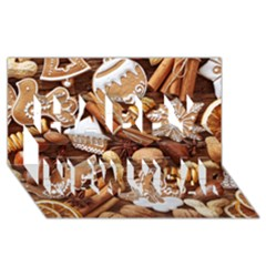 Nuts Cookies Christmas Happy New Year 3d Greeting Card (8x4) by AnjaniArt