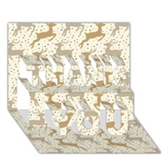 Paper Gift Deer Thank You 3d Greeting Card (7x5) by AnjaniArt