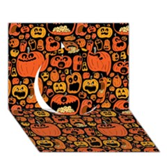 Pumpkin Helloween Circle 3d Greeting Card (7x5)