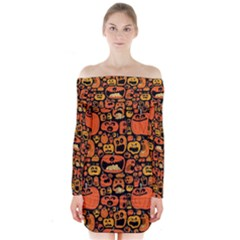 Pumpkin Helloween Long Sleeve Off Shoulder Dress by AnjaniArt